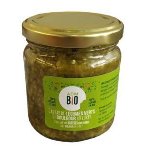 caviar légumes vert au boulgour et curry